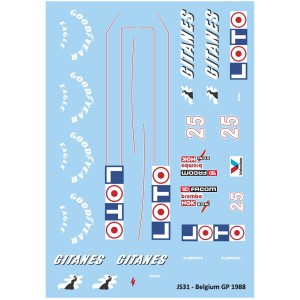 Mitoos Ligier JS31 Belgium GP No.25 Decals