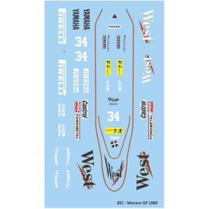 Mitoos Zakspeed 891 Monaco GP No.34 Decals