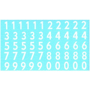 Penelope Pitlane Numbers Waterslide Decals White