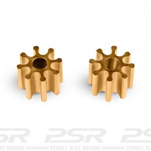 MR Slotcar Pinion Brass 8t 4.5mm Inline 1.5mm MR4008