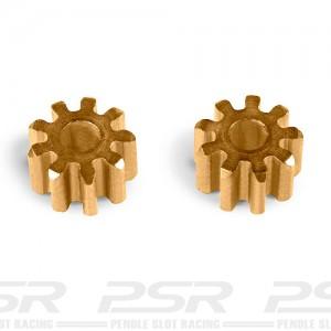 MR Slotcar Pinion Brass 9t 5.5mm Inline 2.0mm MR4209