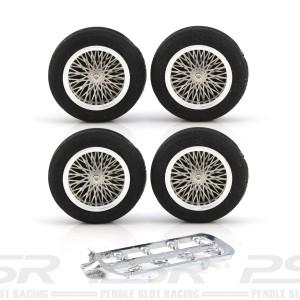 """PCS Vintage 21"""" Spoke Alloy Wheels & Black Tyres 25.5x6mm x4"""