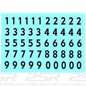 Penelope Pitlane Numbers Waterslide Decals Black