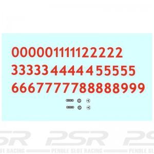 Penelope Pitlane Red Numbers & Logos