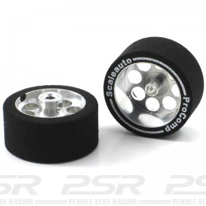 Scaleauto Aluminium Wheels & Pro-comp 1 Sponge Tyres 27.5x13mm