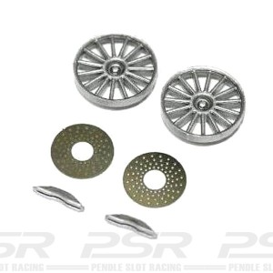 Sloting Plus Reynard 2KQ Silver Wheel Inserts & Brake Discs SP029901