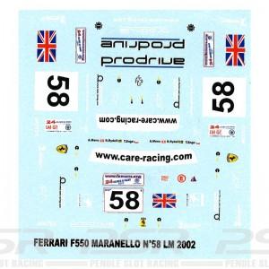 Top Slot Ferrari F550 Maranello No.58 Decals