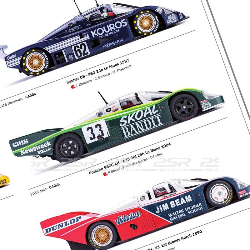 Group C – 80's and early 90's These cars include: Porsche C, IMSA, KH, CLH, KH, LH.Jaguar XJR9, XJR12 Nissan R89C, R90CK.